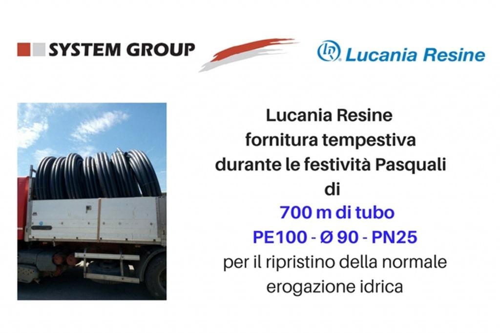 Acquedotto Lucano Lucania Resine fornitura di 700m tubo PE100 Ø 90 PN25