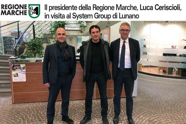 Luca Ceriscioli, presidente della Regione Marche in visita al System Group